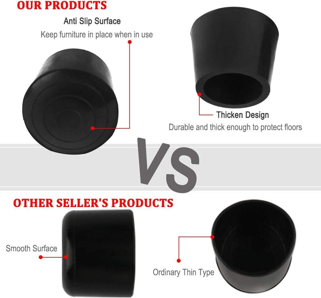protecci/ón para el suelo para reducir el ruido y evitar ara/ñazos 40 tapas antideslizantes de goma para patas de mesa y muebles Sourcingmap