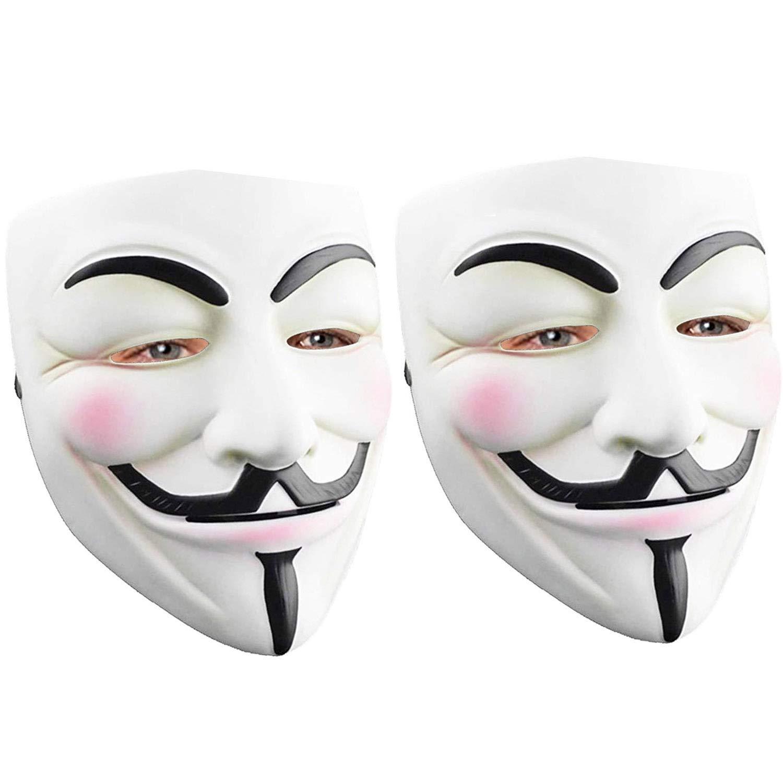 2 Pack Hacker Mask for Kids Adult - V for Vendetta Mask Anonymous Guy Mask for Halloween Costume