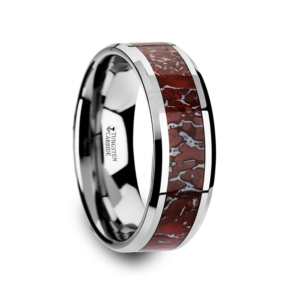 Thorsten JURASSIC Polished Flat Style Tungsten Carbide Wedding Ring with Red Dinosaur Bone Inlay and Polished Beveled Edges Comfort Fit LIghtweight Durable Wedding Band by Rings - 8mm