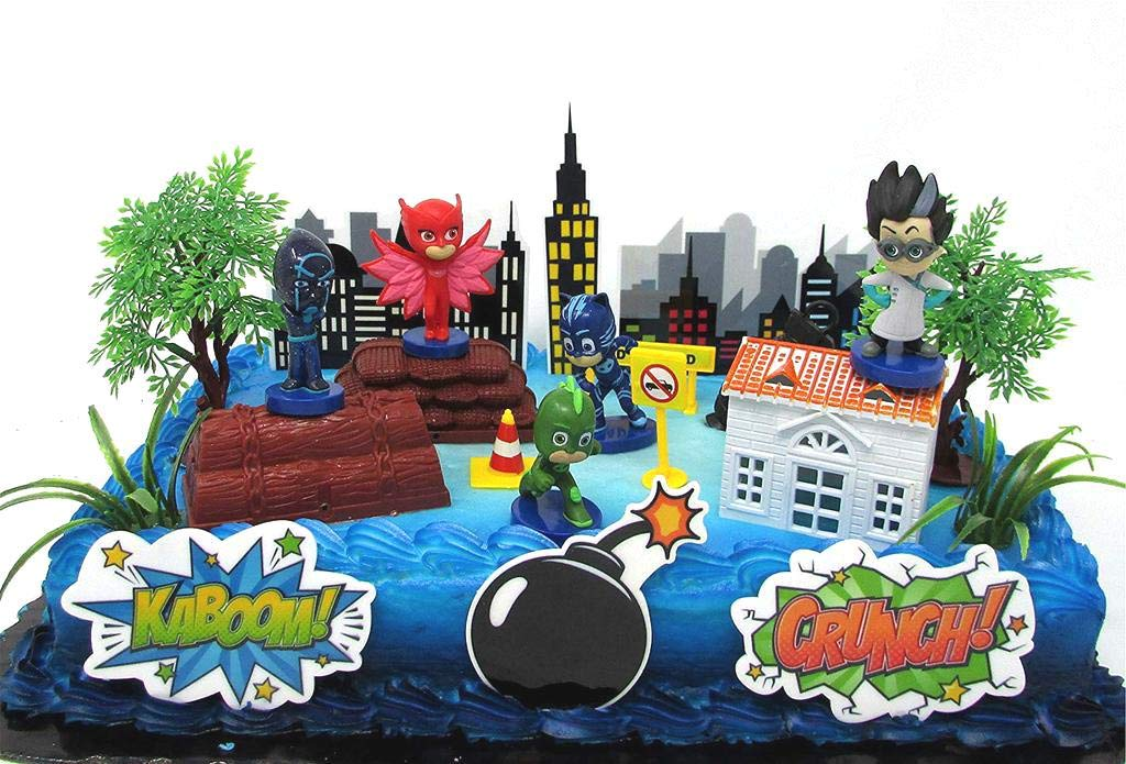 Super Hero PJ MASKS Deluxe Birthday Party Cake Topper Set Featuring Figures and Decorative Accessories by Cake Toppers