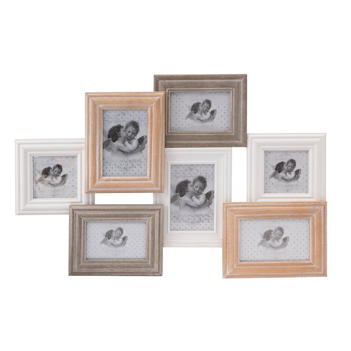 Cadre pêle-mêle 7 photos bois 3 couleurs 63x42cm