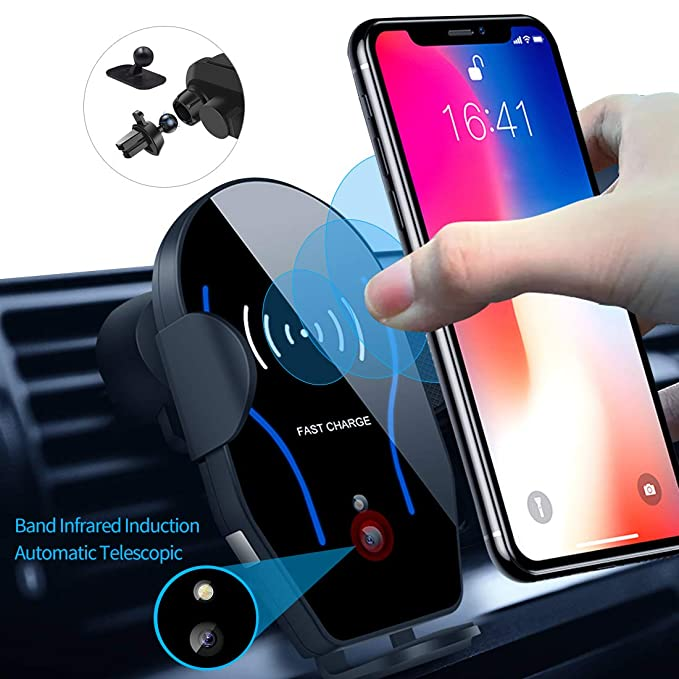 Bnbkiko Wireless Car Charger Mount, Auto Clamping 10 W/7.5 W Qi Certified Fast Charging & 5 W Charger, Dashboard & Vent Phone Holder Compatible With I Phone Xs/Xs Max/Xr/X/8/8 Plus, Samsung S10/S10+/S9/S9 by Bnbkiko
