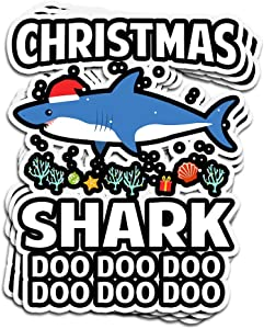 ViralTee 3 PCs Stickers Funny Christmas Shark Ugly Holiday Sweater Xmas Party 4 × 3 Inch Die-Cut Decals for Laptop Window