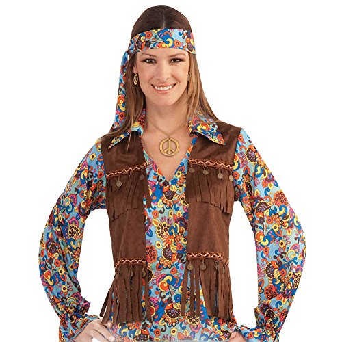 Female Hippie Groovy Set Costume - Standard - Dress Size 6-12 (Adult Flower Halloween Costume)
