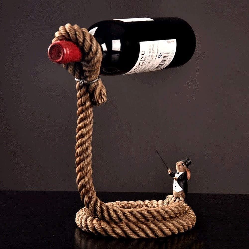 Giltern El cáñamo estadounidense Vintage Magic cuerda de metal Bastidores de vino 1 botella del sostenedor de botella de vino con patas Vino Tinto de almacenamiento de vidrio soporte de mesa for Adorn