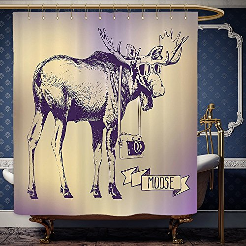 Wanranhome Custom-made shower curtain Moose Set Hipster Deer with Shades Sunglasses and Camera Vintage Ombre Design Funny Animal Art Decor Purple Beige For Bathroom Decoration 36 x 78 - Review Sunglasses House Of