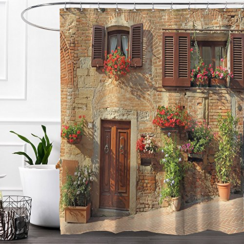 Colorful Star Italy Italian Beautiful Flowers Windowsill Design Shower Curtain,Waterproof&Antibacterial&Eco-Friendly made of 100% Polyester Fabric,Non Toxic,Odor Free,Rust Proof Grommets 72