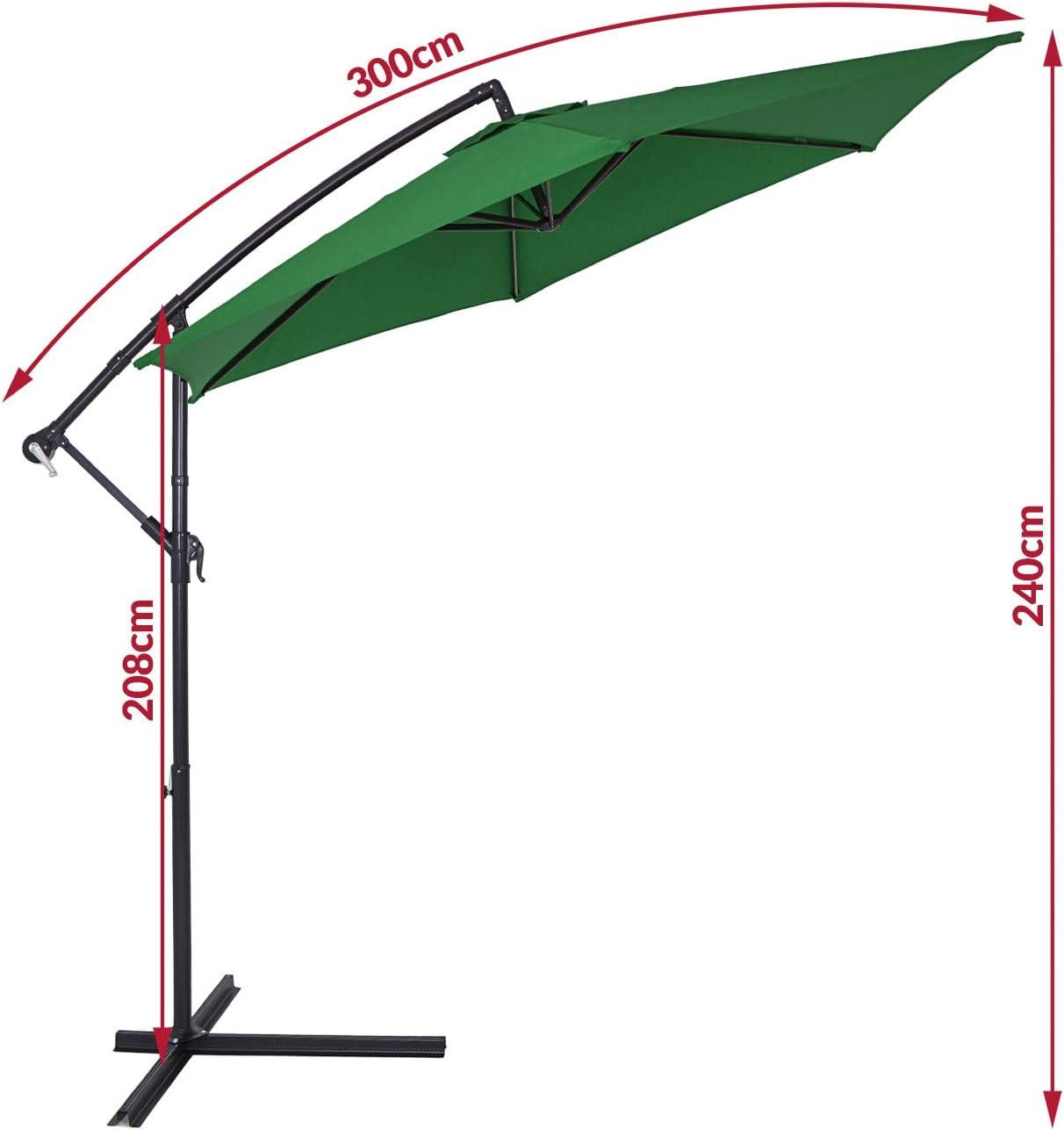 300cm, green Banana Outdoor Patio Umbrella Deuba Garden Sun Parasol /Ø 300cm or 330cm Sun Shade Hanging Cantilever Crank UV Protection 40