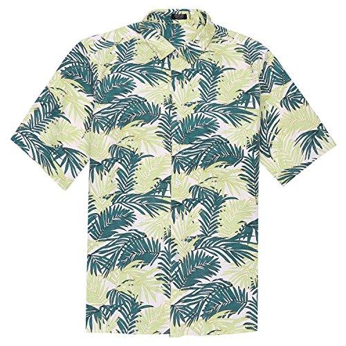 New Xxl Aloha Hawaiian Shirt (COOFANDY Mens Hawaiian Shirt Short Sleeve Palm Leave Print Shirt For Party Holiday Beach, Green, XX-Large)