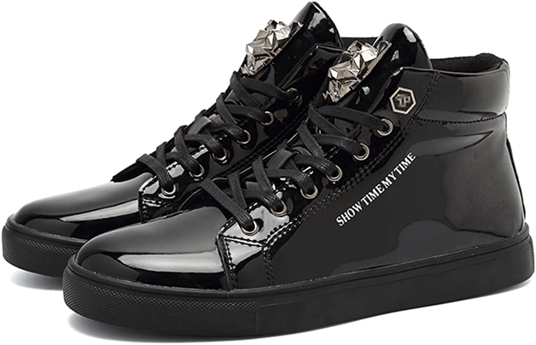 Shiny Patent Leather Mens Lace up Round toe Board Shoes Athletics Sneakers Size