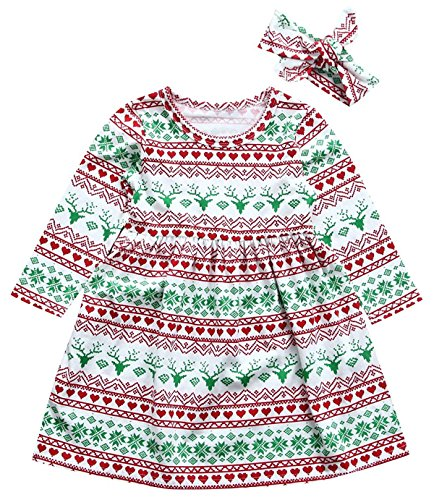 Mini honey Toddler Kids Baby Girl Christmas Costume Long Sleeve Tutu Dress andHeadband Outfits (Multicolor, 12-18 Months)