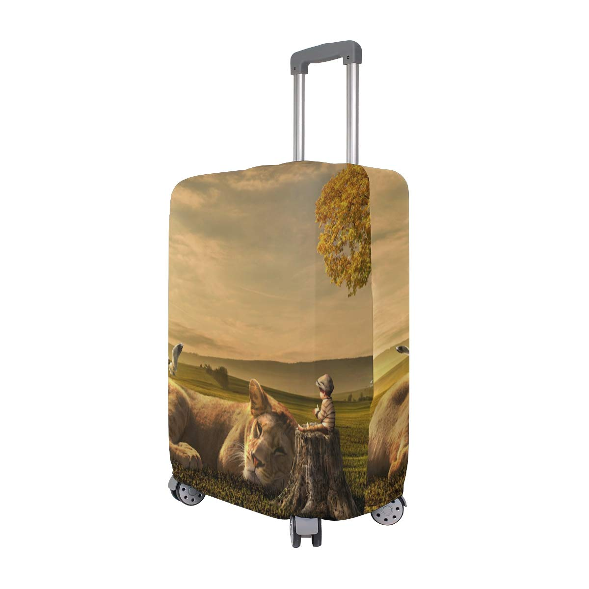 Sunset Little Boy Lion Dream suitcase cover elastic suitcase cover zipper luggage case removable cleaning suitable for 29-32 trunk cover