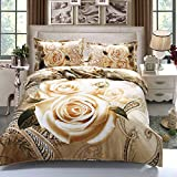 Suncloris,3d Luxury Antique Rose,Queen Size,4pc Bedding Sheet Sets,1Duvet Cover,1Flat Sheet,2 Pillowcase(no Comforter inside)
