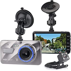 "Dash Camera, 4"" LCD Screen Dual Lens Dashcam Dashboard Camera Recorder HD 1080p Night 170° Wide-Angle View G-Sensor WDR Loop Recording Night Car Vision DVR"