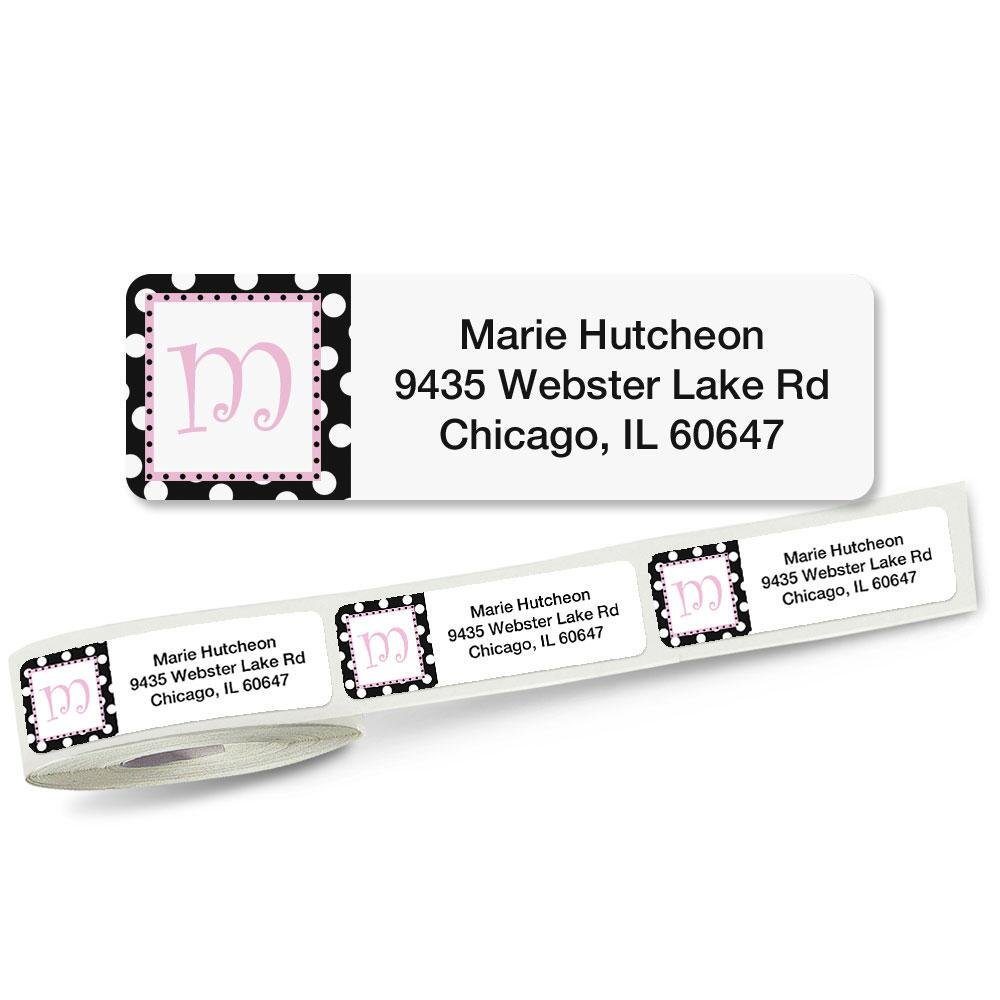 Leeza Initial Rolled Address Labels with Clear Dispenser by Colorful Images Roll of 250