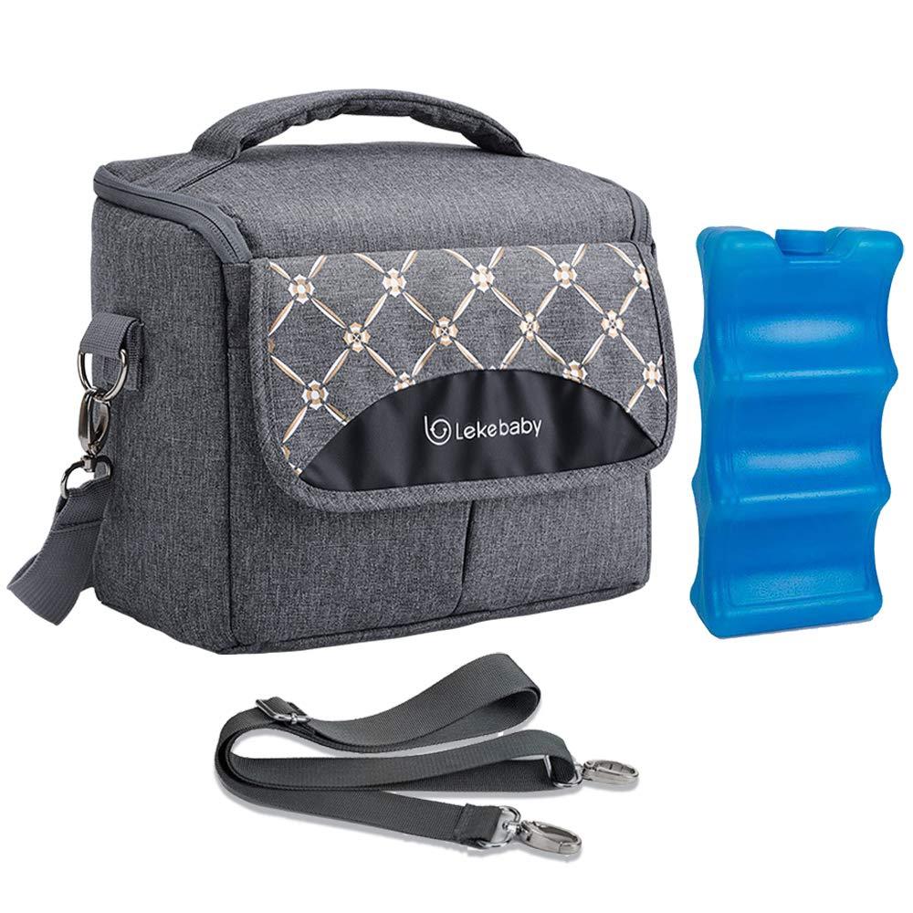 Lekebaby Breast Milk Cooler Bag with Contoured Ice Pack Fits 6 Breastmilk Baby Insulated Bottle Tote Bag for Nursing Mothers, Grey by Lekebaby
