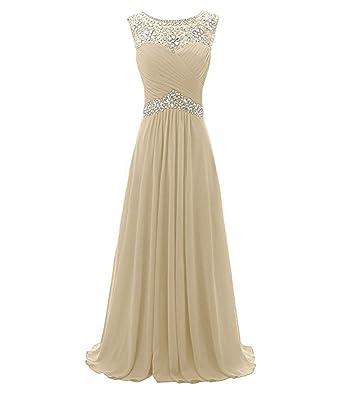 Amazon.com: macria Beaded Long Prom Dress Floor Length Evening Gown ...