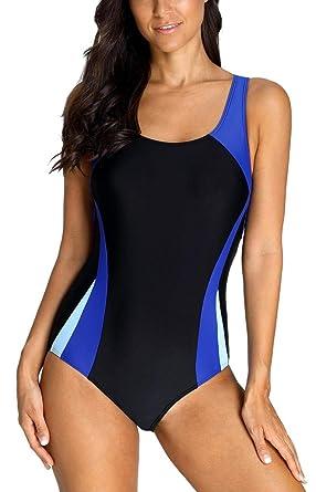 f335833f004 ATTRACO Women s Sport One Piece Swimsuit Racerback Athletic Pro Swimwear  Black M