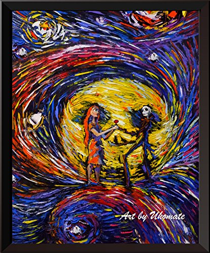 Uhomate Jack and Sally Nightmare Before Christmas Vincent Van Gogh Starry Night Posters Home Canvas Wall Art Anniversary Gifts Baby Gift Nursery Decor Living Room Wall Decor A020 (11X14) -