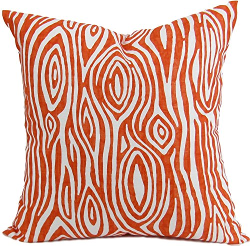 Sham Orange and white Wood Grain Euro Pillow Cover - Sofa Pillow Cover - Willow Cover Sham Euro pillow case. Cotton. Bed Euro Sham, Cushion Cover - 26