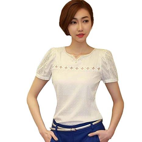 LuckyGirls Camisetas Mujer Manga Corta Encaje Heuco Sexy Remeras Blusas Camisas (S, Blanco)