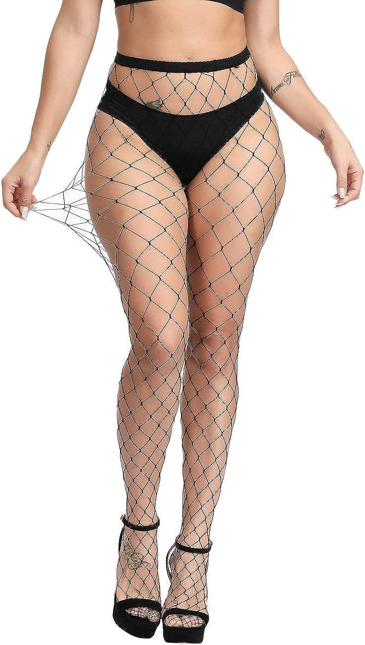 Betteraim Womens Hollow Out Rhinestone Fishnet Pantyhose Tights
