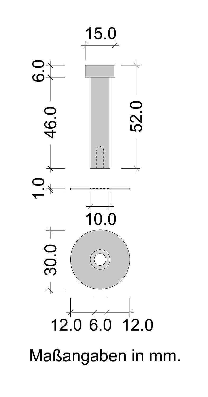 Gedotec Garderobenhaken Edelstahl Kleiderhaken Tür - Garderobe & Wand-Montage - - - UP-25   Tiefe  72 mm   Edelstahl matt gebürstet   Haken für Grünckte Befestigung   10 Stück - Wandhaken mit Schrauben B07546WRFQ Kleiderhaken f79082