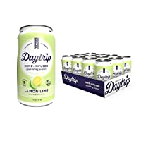 Daytrip Natural Hemp Infused Drink | Boosts Energy & Relieves Stress | Non-Alcoholic Fruit Flavored Premium Sparkling Water (Pack of 12) - Lemon Lime