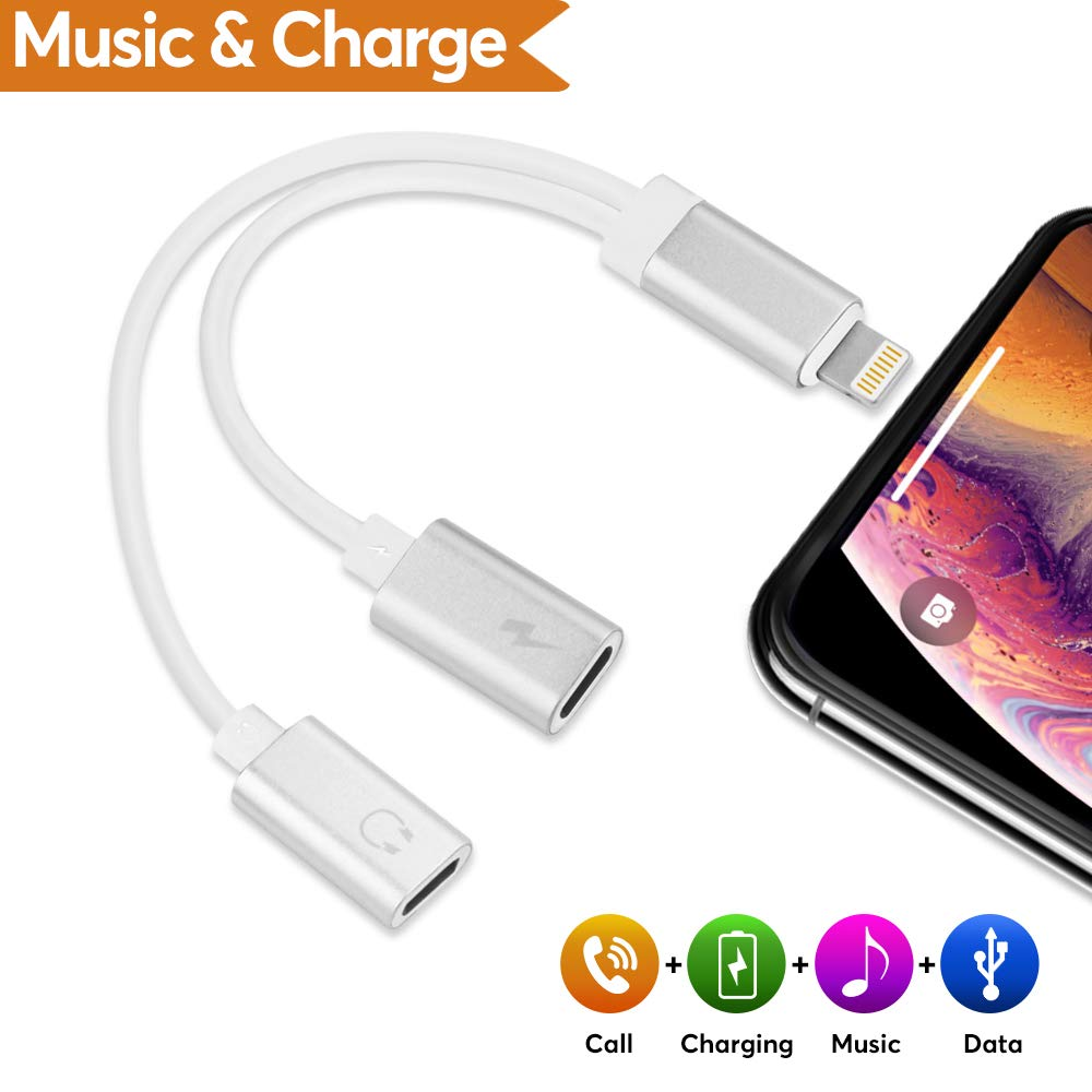 Headphone Jack Charger Adapter Audio - Dual Ports Splitter Cable for IP 7/7plus/X/8/XS/XR (Support Calling + Sync + Music Control + Charge) RIVERSONG