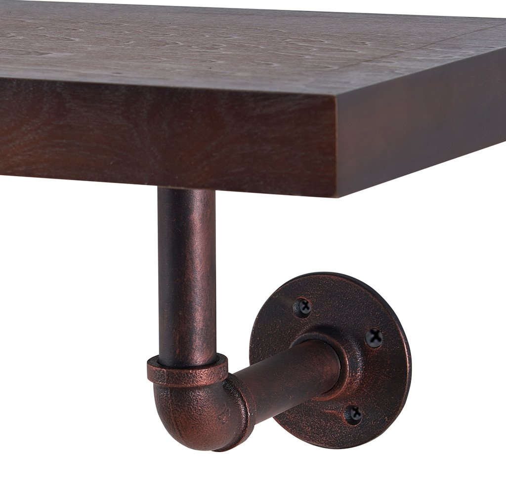 O/&K Furniture Industrial Wall Mounted Shelf Floating Shelf for Bedroom 23.8 W x 10 D GHN MX-OKMMB002C 23.8 W x 10 D, 1-Pcs Copper Pipe Living Room and Bathroom Copper Pipe