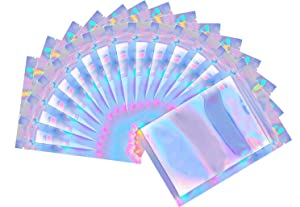 100 Pieces Resealable Smell Proof Bags Foil Pouch Bag Flat Zip Lock Bag for Party Favor Food Storage Holographic Color (4.7 x 7.9 Inches)