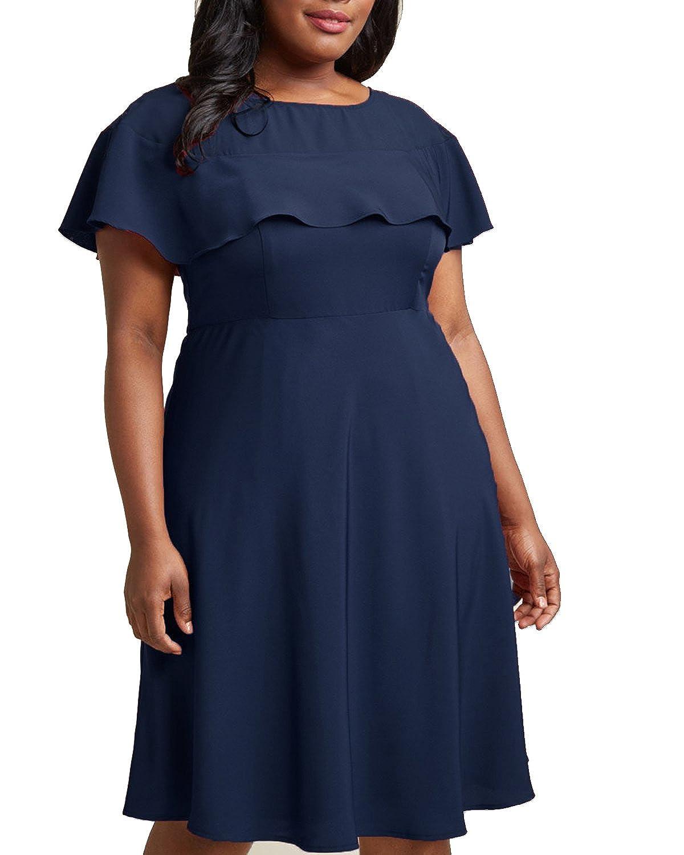 Women's Plus Size Crew Neck Illusion Ruffle High Waist A-Line Midi Cocktail Dress