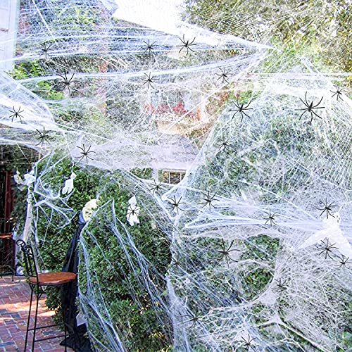 Spider Webs Halloween Decorations Outdoor - 1000 sqft Cobweb Decor with 60 Fake Spiders