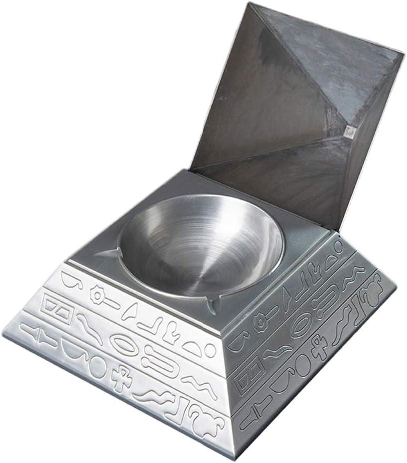 YOYT Cenicero de Metal Grabado en Forma de pirámide Retro Creativo Grabado con Tapa Cenicero Decoración del hogar Regalo