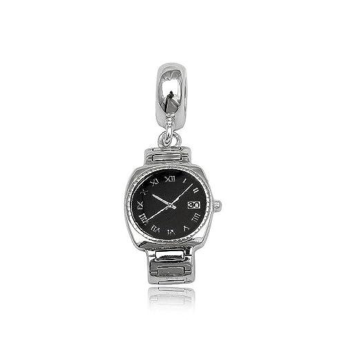 Mobile reloj de plata de ley cuenta para pulsera para pulsera tipo pandora  pulseras joyería jpg 84cdb181e8ab