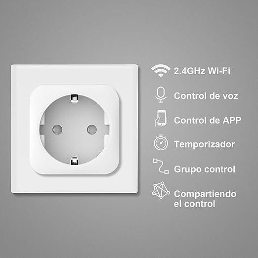 Enchufe Inteligente WiFi Smart Plug Control remoto No Requiere Hub,Toma de corriente inal/ámbrica para iOS Aplicaci/ón de Android Compatible con Google Home  Alexa IFTTT 2 Pcs