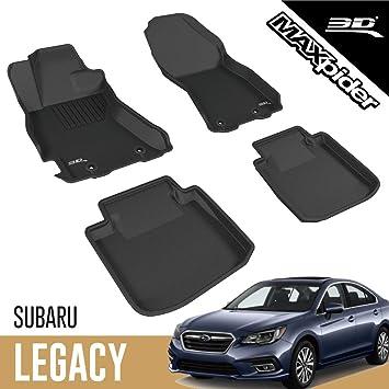 3D MAXpider Second Row Custom Fit Floor Mat for Select Subaru Legacy//Outback Models Kagu Rubber Black