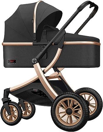 Opinión sobre Cochecito de bebé, cochecito plegable compacto ajustable, con cesto portaobjetos, carro reclinado desde el nacimiento hasta los 25 kg, cubrepiés estéreo acolchado, almohadilla de algodón térmico 3D