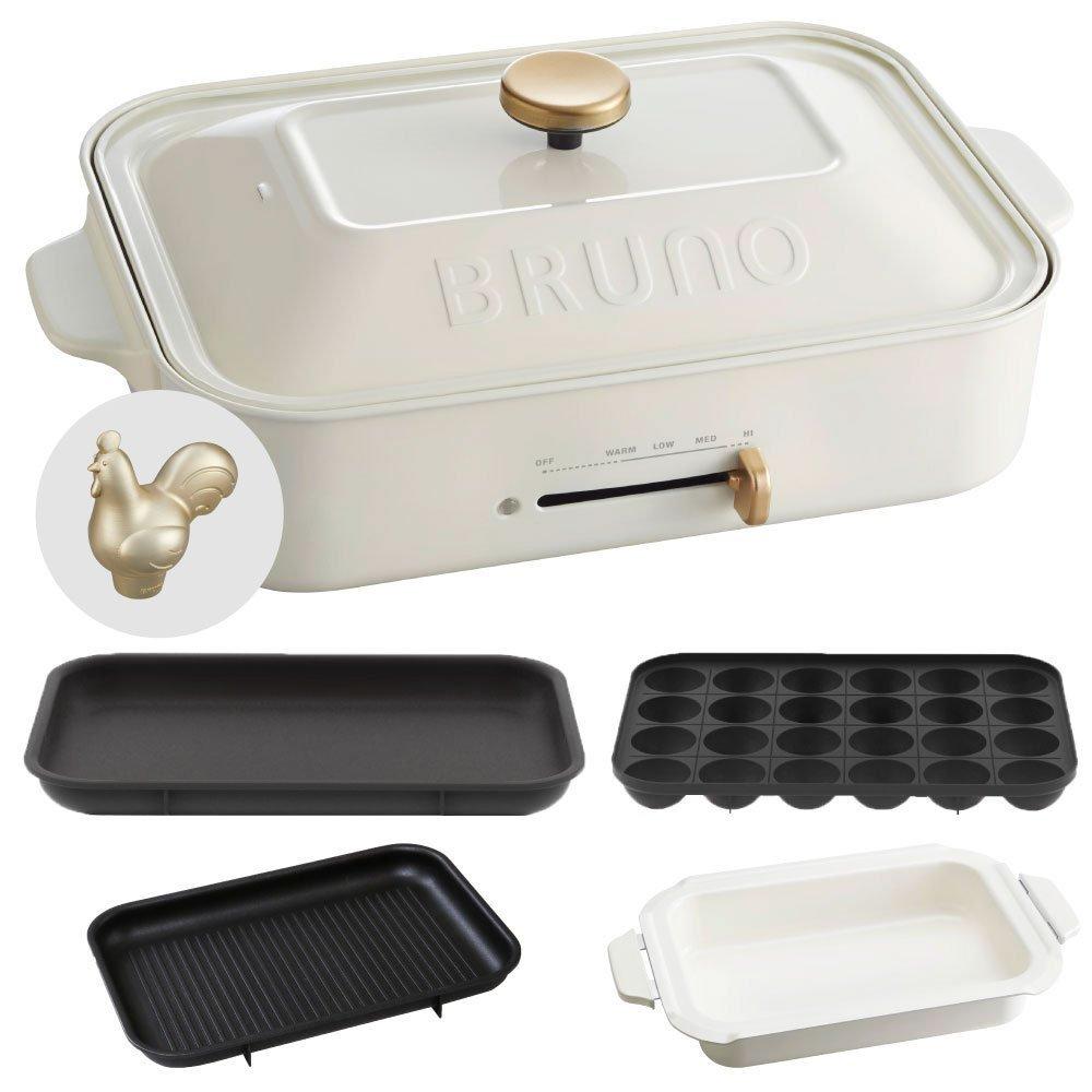 BRUNO コンパクトホットプレート + セラミックコート鍋 + グリルプレート + デコレーションノブ ルースター 4点セット (ホワイト)  ホワイト B0739QCBJP