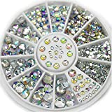TR.OD New Hot Gorgeous Acrylic Glitter 3D Nail Art Decoration+Wheel White Multicolor