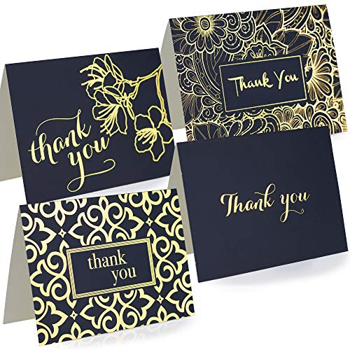 (Thank You Cards With Envelopes - Set Of 100 Navy Blue Thank You Notes In Gold Foil Embossed Lettering - Perfect For All Occasions Including Weddings, Bridal Showers And Baby Showers)