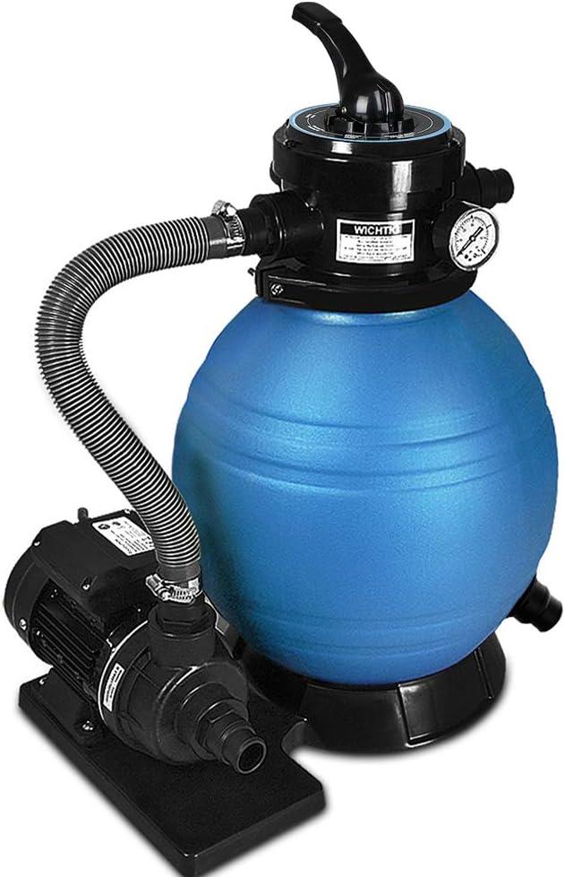 Deuba Depuradora Azul y Negro 10200 l/h Bomba de Filtro de Arena con válvula con 4 Funciones Fil...