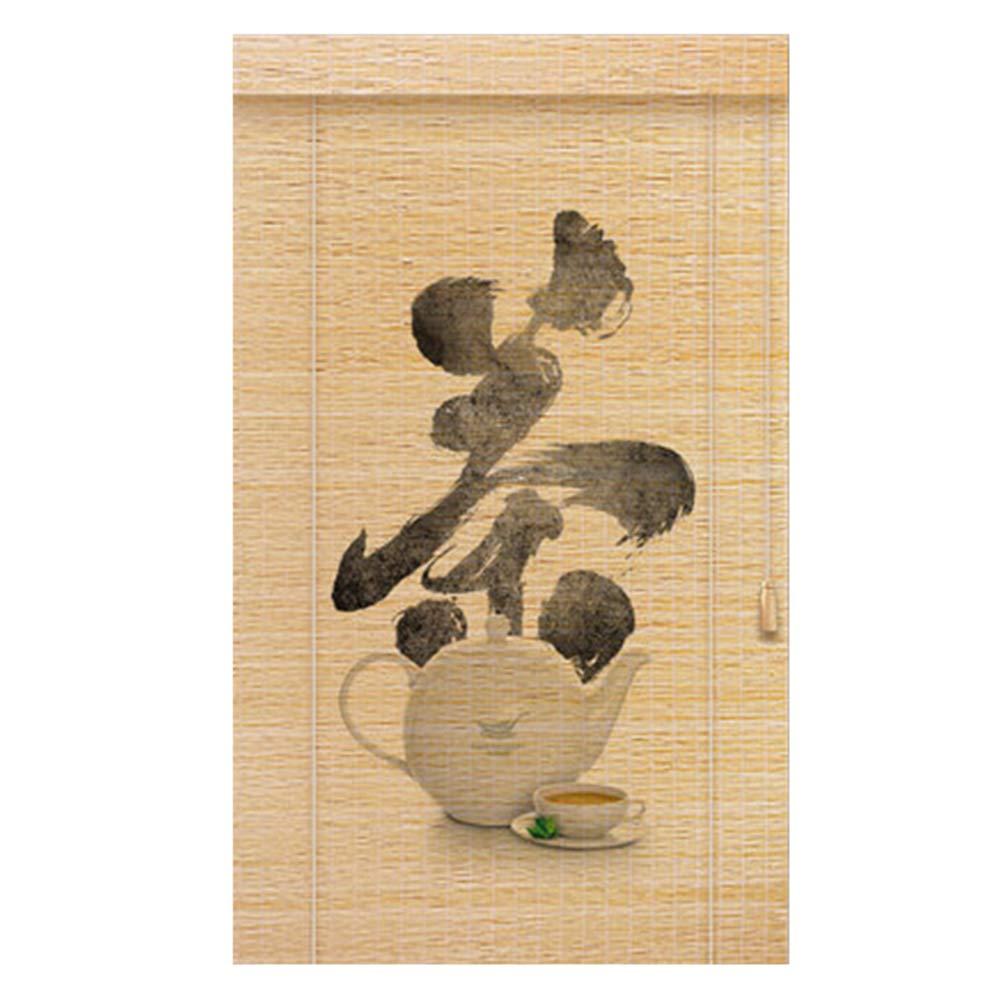 竹スクリーン すだれ ウッドブラインド 中国語の印刷 カーテン 廊下/バルコニー パーティション、 カスタマイズ可能,A,W80*H200CM W80*H200CM A B07RW32B9D
