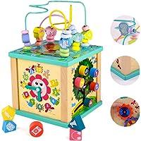 yoptote Juguetes Montessori Mesa Actividade Madera Cubo de Actividades Infantil Abaco Infantil Torre de Aprendizaje…
