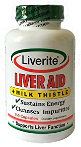 Liverite Liver Aid With Milk Thistle 150 Capsules, Liver Support, Liver Cleanse, Liver Care, Improves Energy