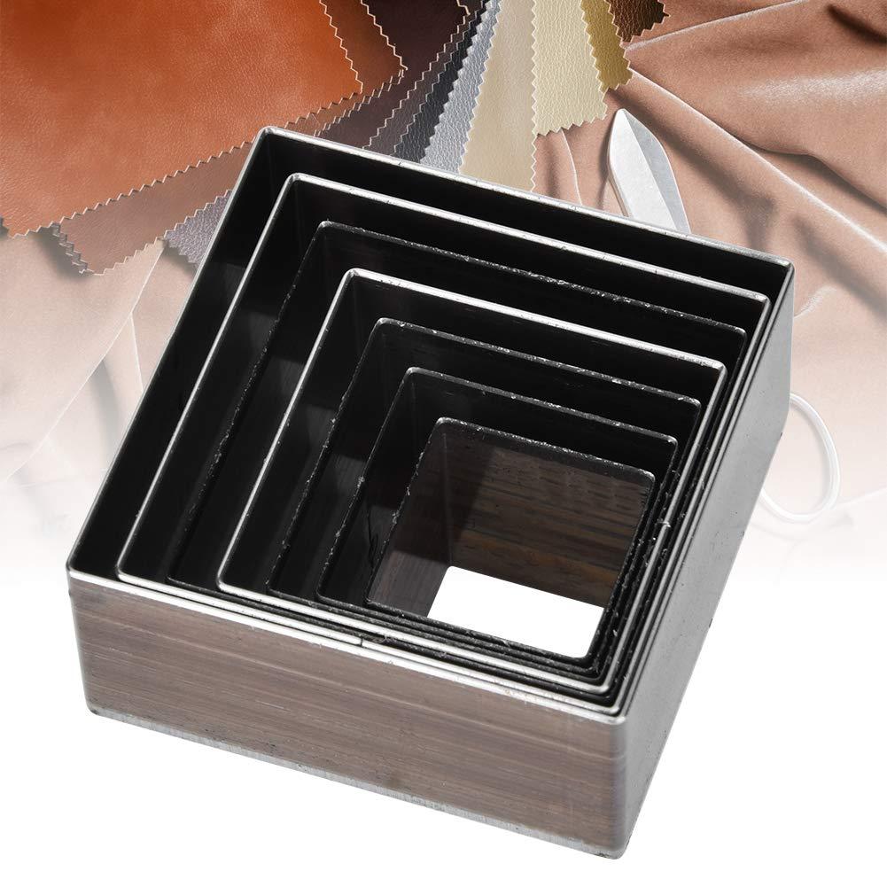 7 Piezas Herramienta de punzonado de 20-50 mm Punz/ón Cuadrado de Corte de Cuero para Manualidades de Cuero HEEPDD Molde de Corte de Cuero