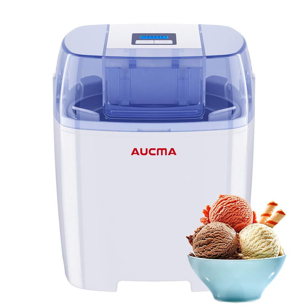Aucma Ice Cream Machine, 1.5 Quart Ice Cream Maker Gelato Maker Electric Frozen Yogurt Sorbet Machine with LCD Timer for Home Kids
