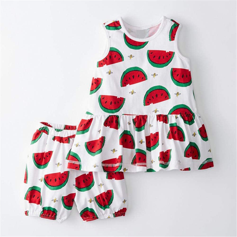 Girl Summer Short Set Cotton Outfits Short Sleeveless Tee T Shirt Tank Top Shorts Pant 2PC Set 2-7Y