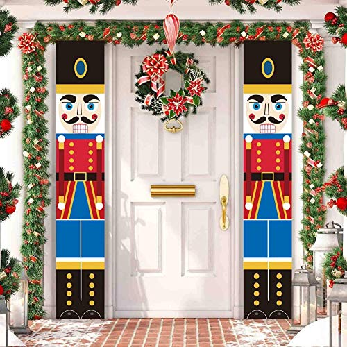 WISREMT Nutcracker Christmas Porch Signs - Nutcracker Christmas Decorations - Life Size Soldier Model Nutcracker Banners - Xmas Decor Curtain for Indoor & Outdoor Family Apartment Party