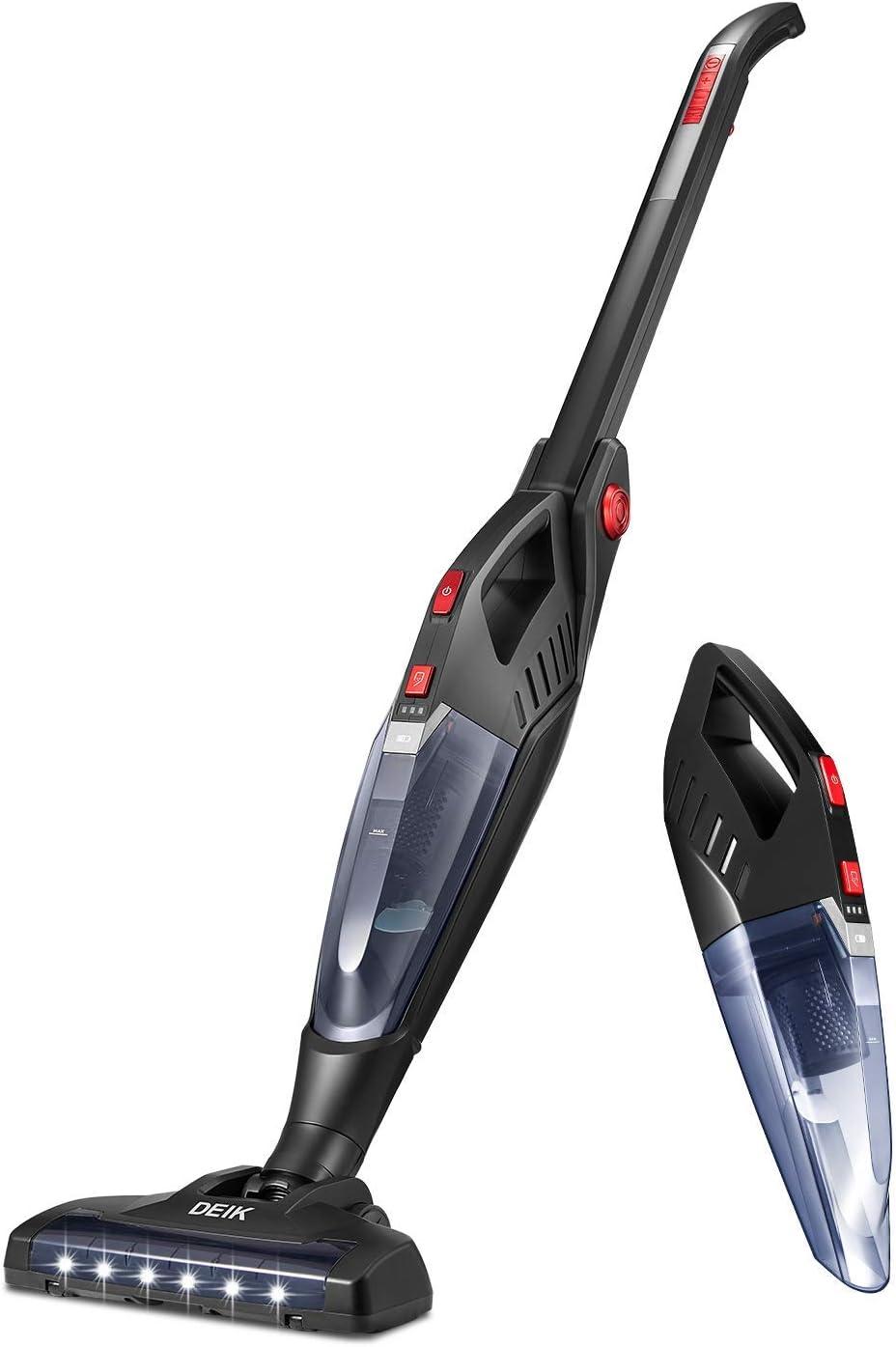 deik aspirador inalámbrico, práctico batería de 2 en 1 aspirador – Aspiradora de mano (sin bolsa, 22,2 V 2200 mAh batería de litio, cepillo eléctrico con accesorios), color negro: Amazon.es: Hogar